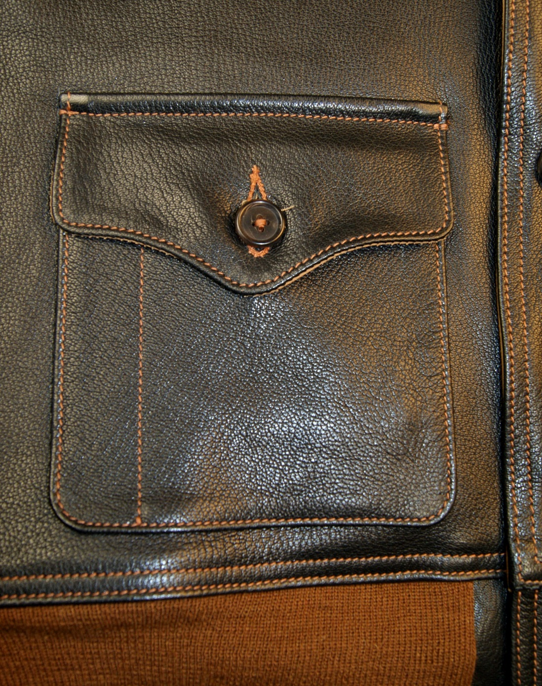 Aero A-1 Black Goatskin Caramel knits patch pocket.jpg