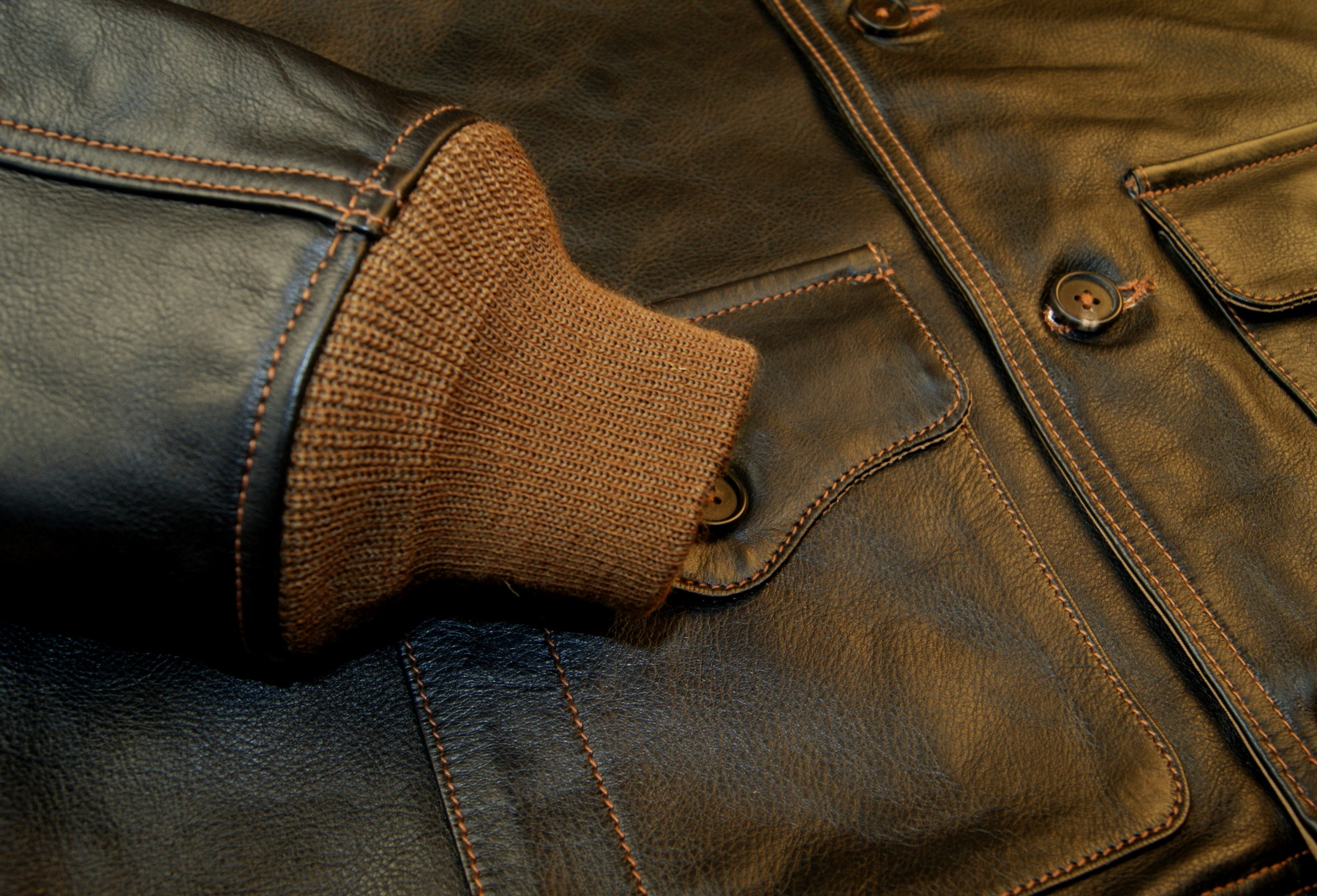 Aero A-1 Blackened Brown Vicenza Horsehide DKE cuff.jpg