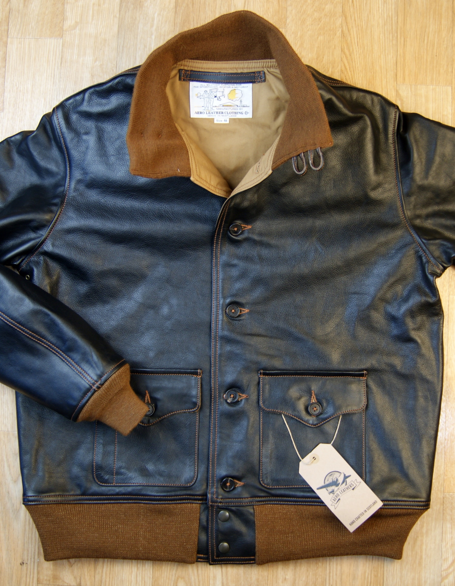 Aero A-1 Blackened Brown Vicenza Horsehide DKE front.jpg