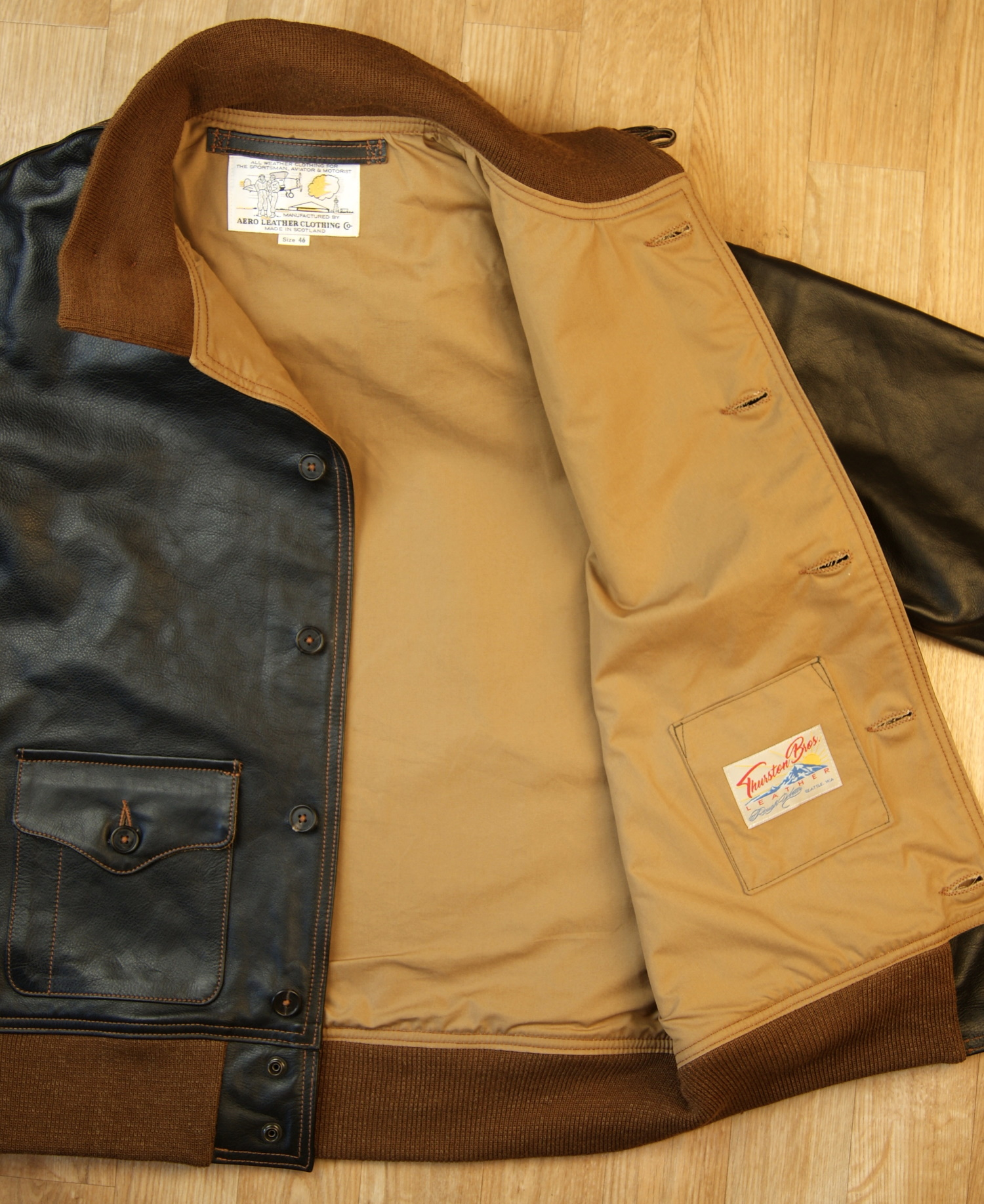 Aero A-1 Blackened Brown Vicenza Horsehide DKE lining.jpg