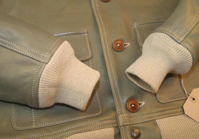 Aero A-1 Olive Vicenza Horsehide VQU knit cuffs.jpg