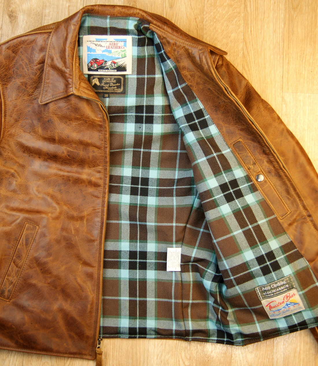 Aero August Battered Tan FQHH TUC Thompson Hunting heavyweight tartan lining.jpg