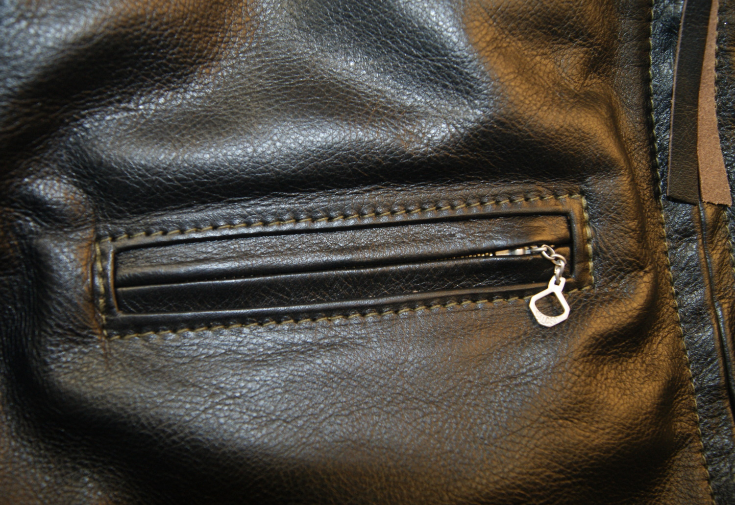 Aero Board Racer Blackened Brown Vicenza Horsehide S9B chest pocket.jpg