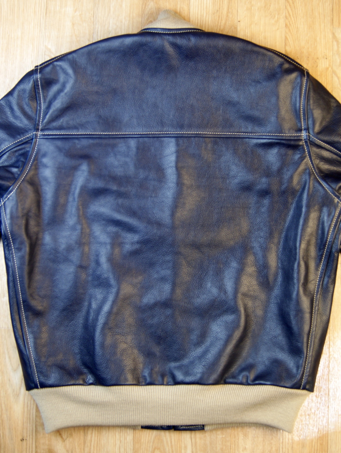 Aero College Jacket Blue Vicenza Horsehide back.jpg