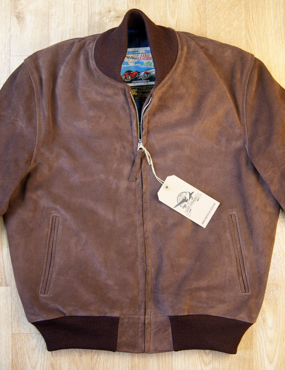 Aero College Jacket Chocolate Suede front 2.jpg