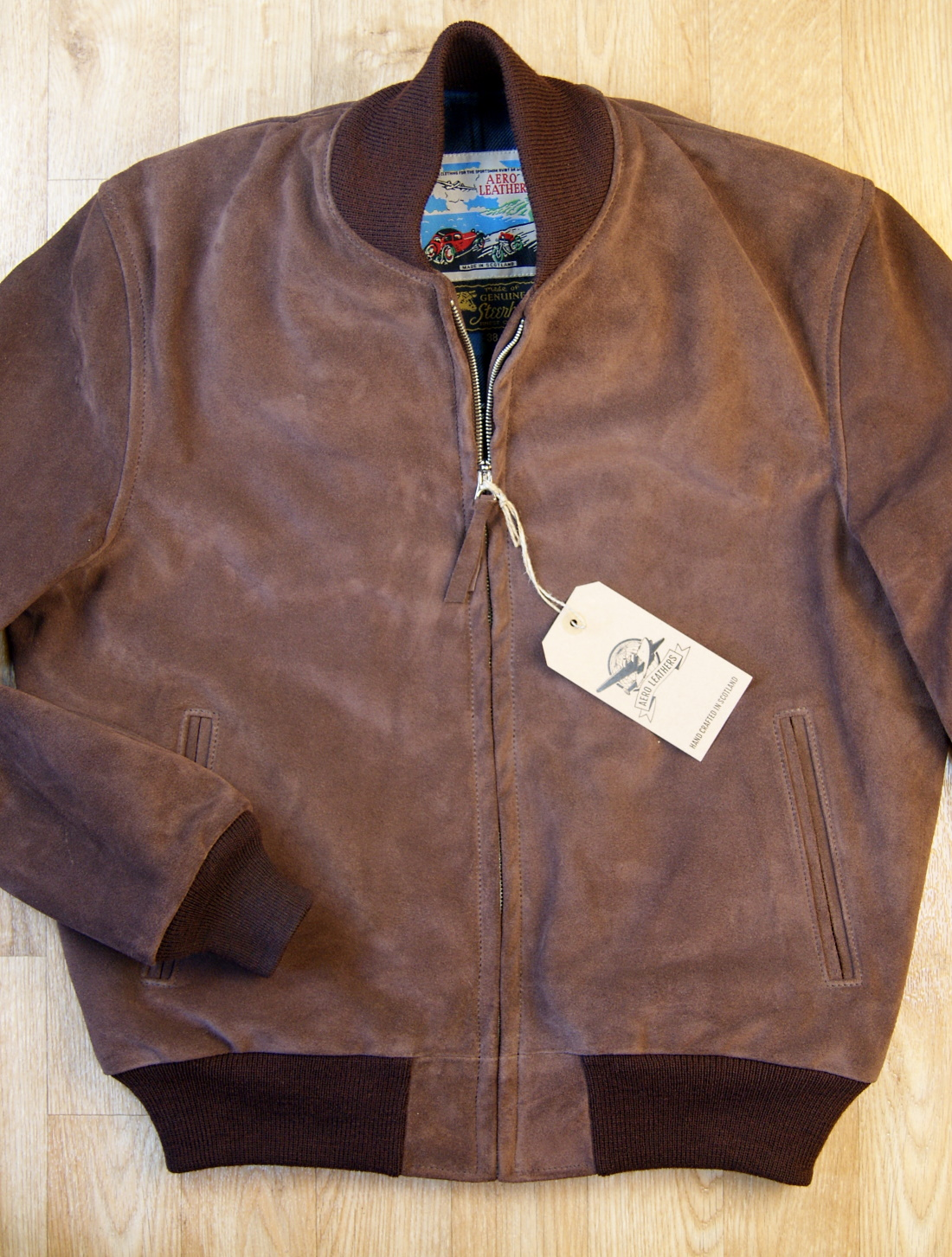 Aero College Jacket Chocolate Suede front.jpg