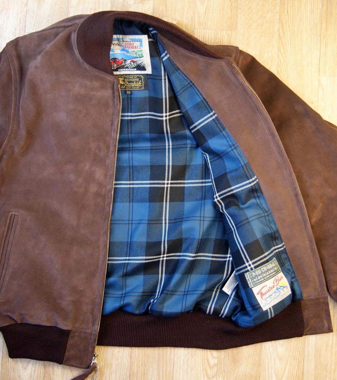 Aero College Jacket Chocolate Suede Ramsey Blue Ancient tartan lining.jpg
