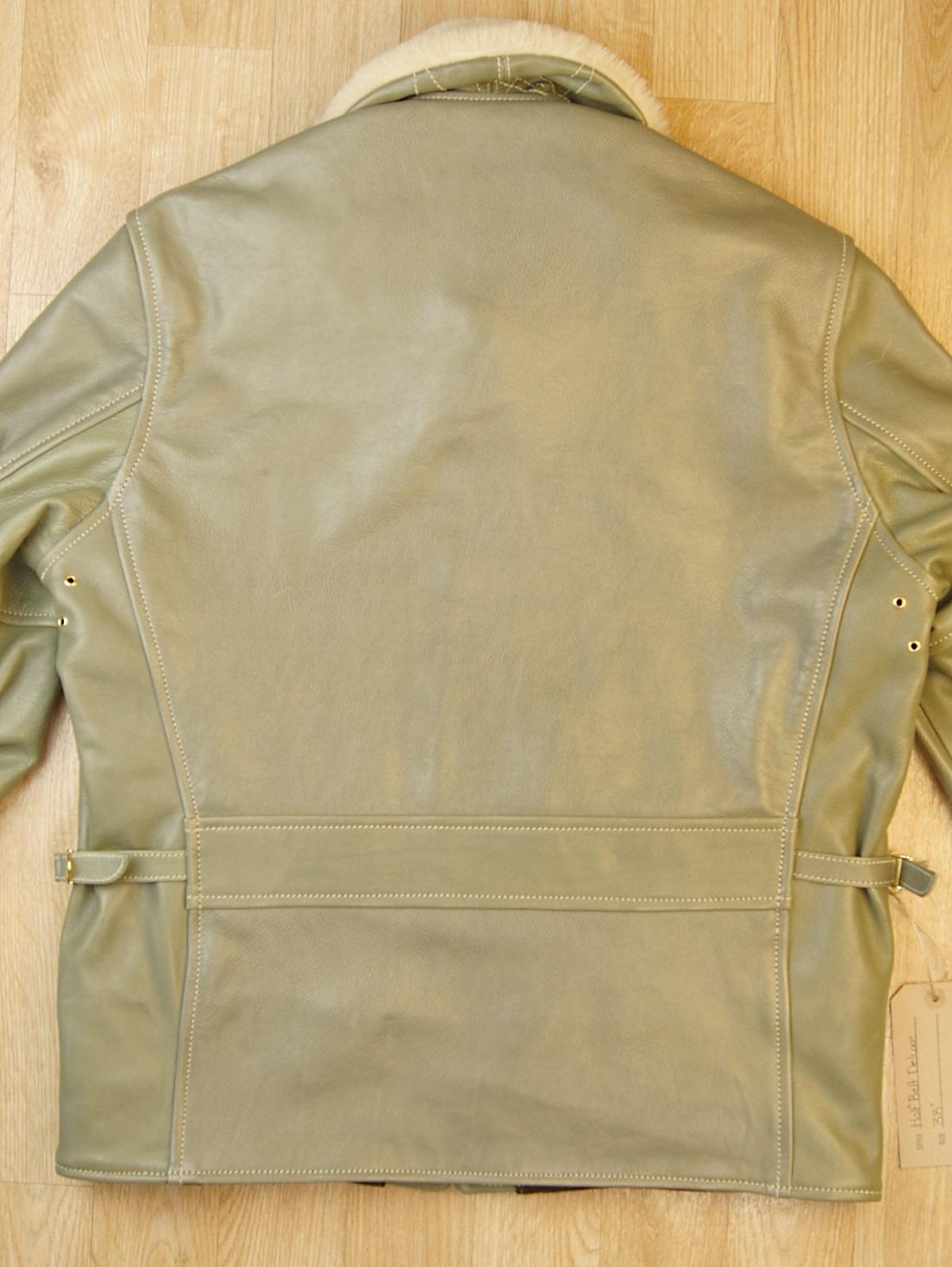 Aero Half Belt Deluxe Olive Vicenza Horsehide Blonde Fur collar back.jpg