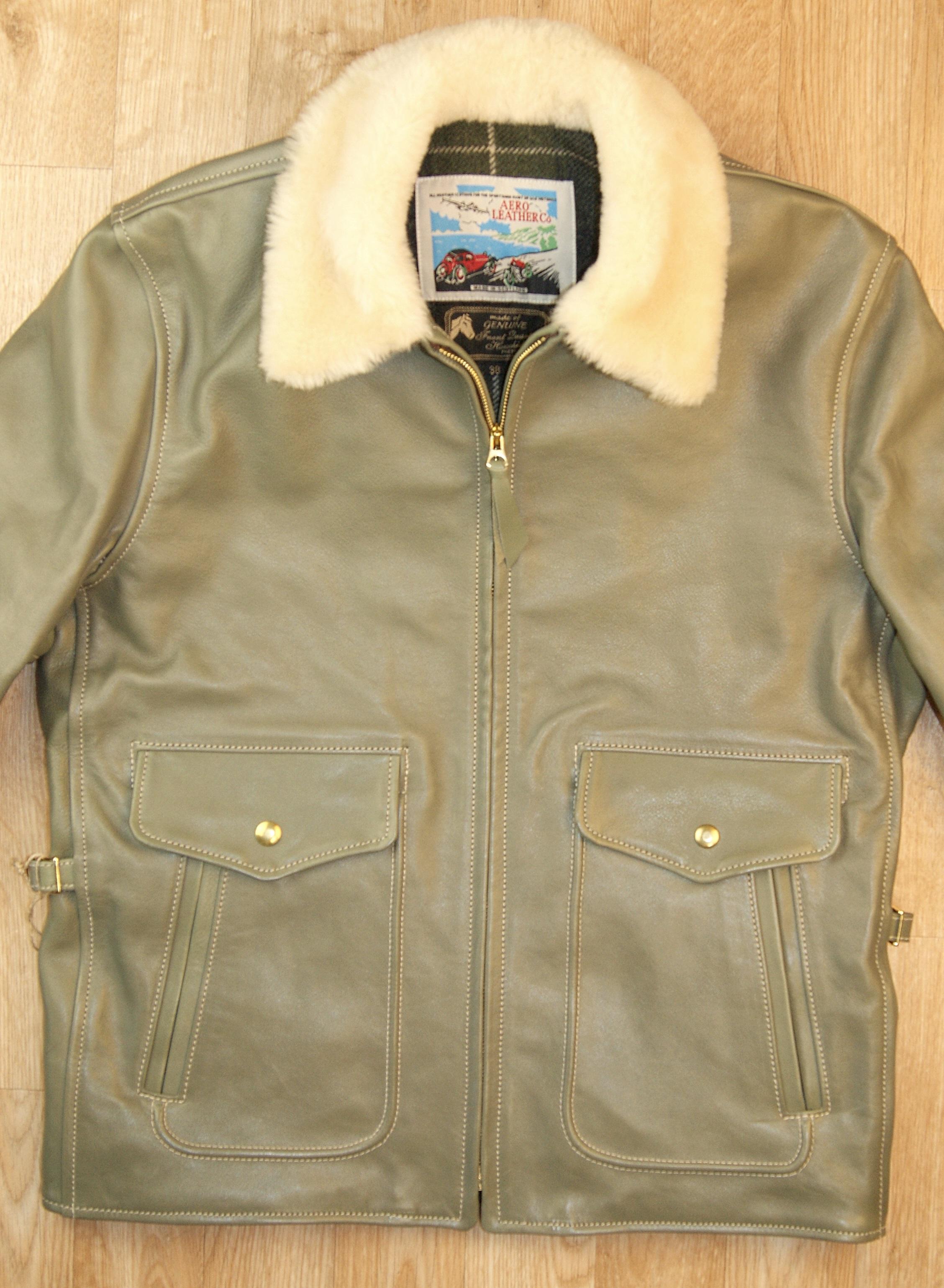Aero Half Belt Deluxe Olive Vicenza Horsehide Blonde Fur collar front.jpg