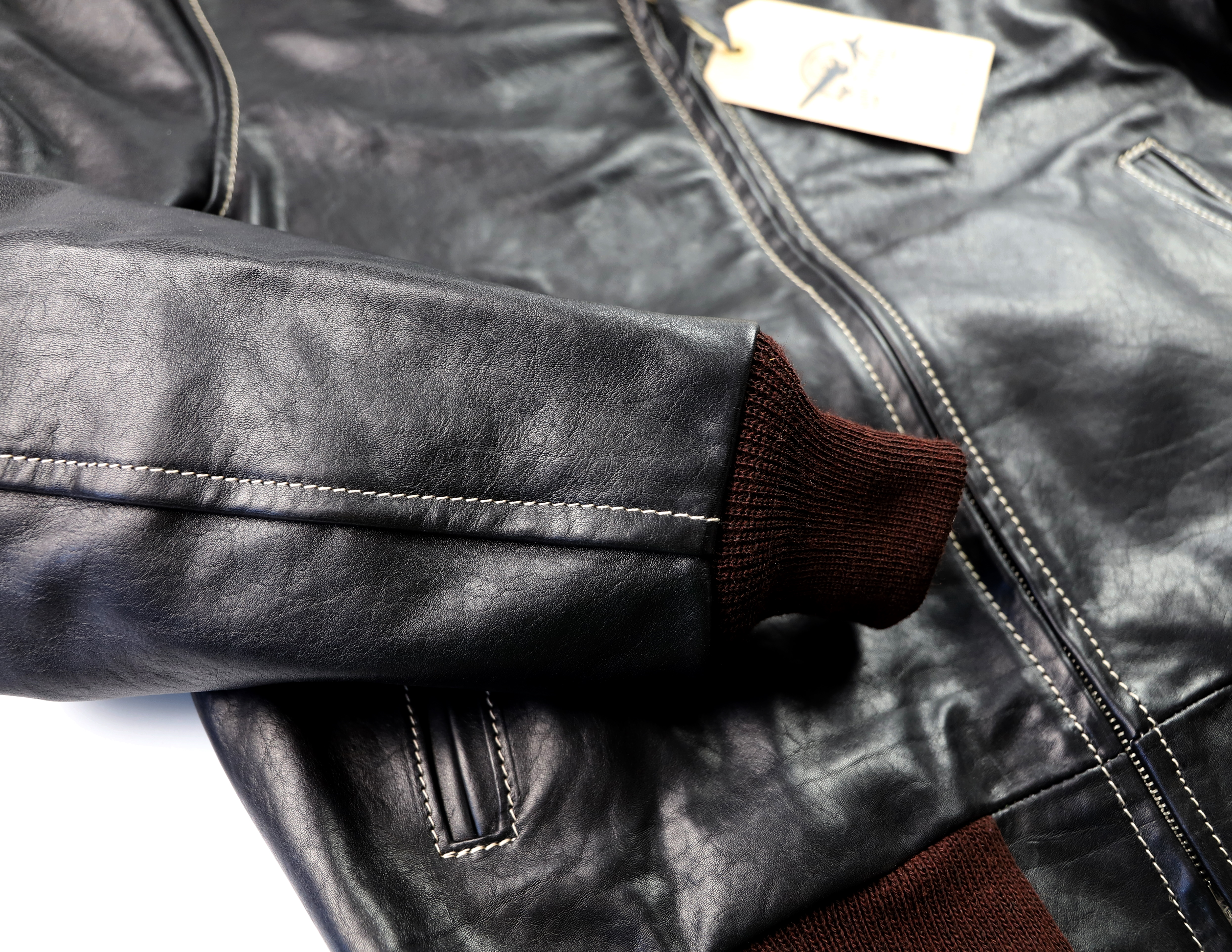 Aero Happy Days Black Vicenza Horsehide BT3 knit cuff.jpg