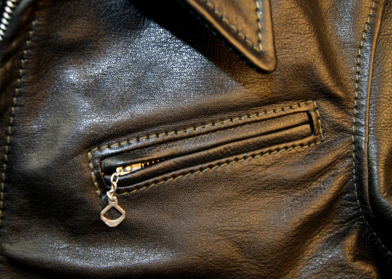 Aero Premier 1930s Half Belt Dustbowl back Black Vicenza Horsehide chest pocket smaller.jpg