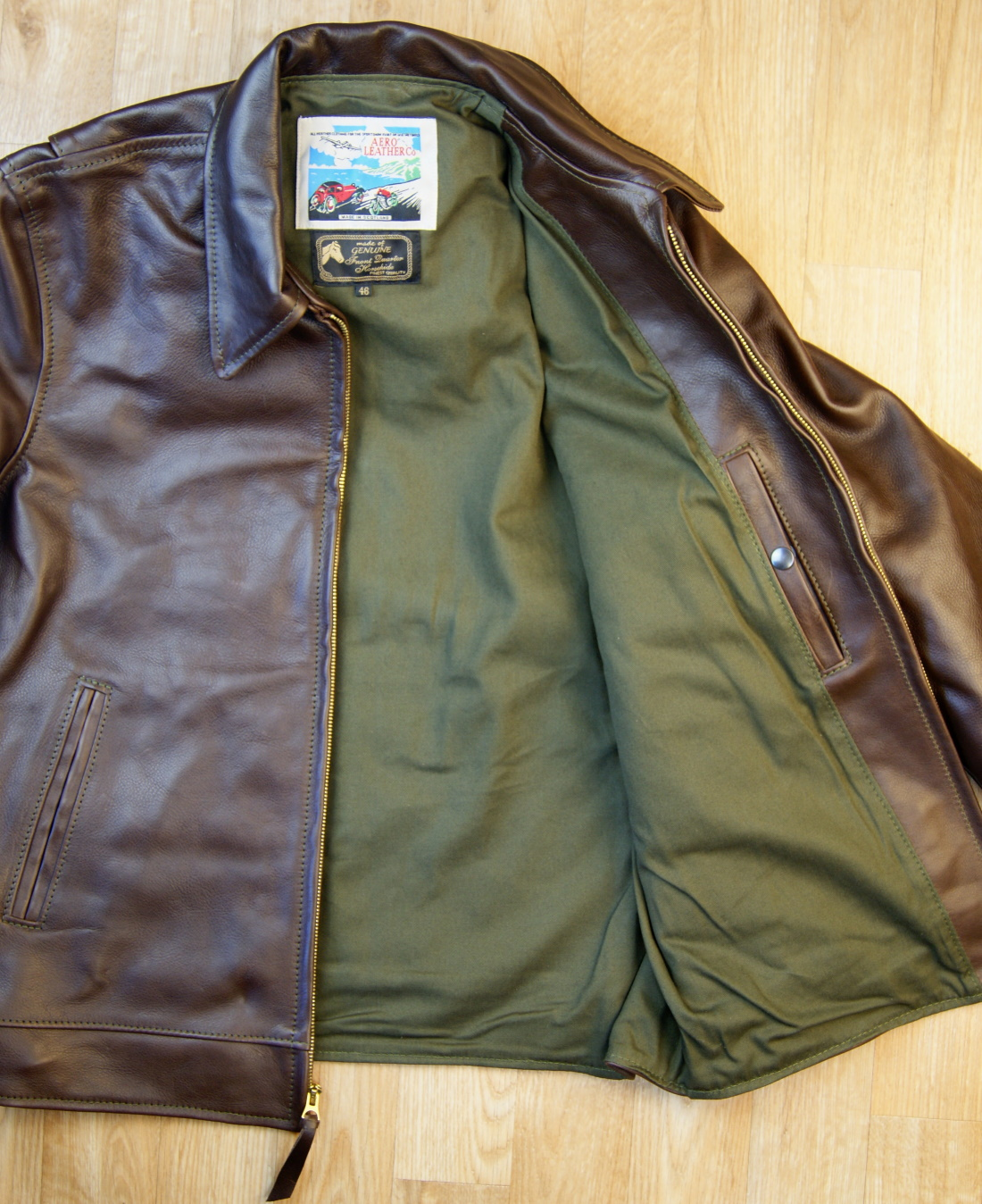 Aero Premier Highwayman Seal Vicenza Horsehide DWM olive cotton drill.jpg