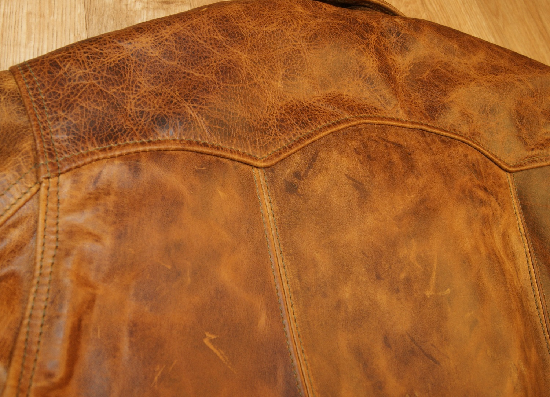 Aero Premier Work Coat Battered Tan back stitching.jpg