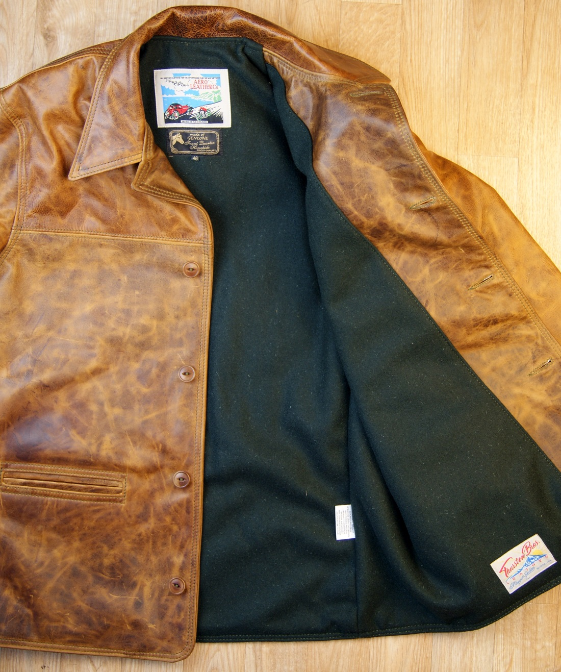 Aero Premier Work Coat Battered Tan Green Melton Wool lining.jpg