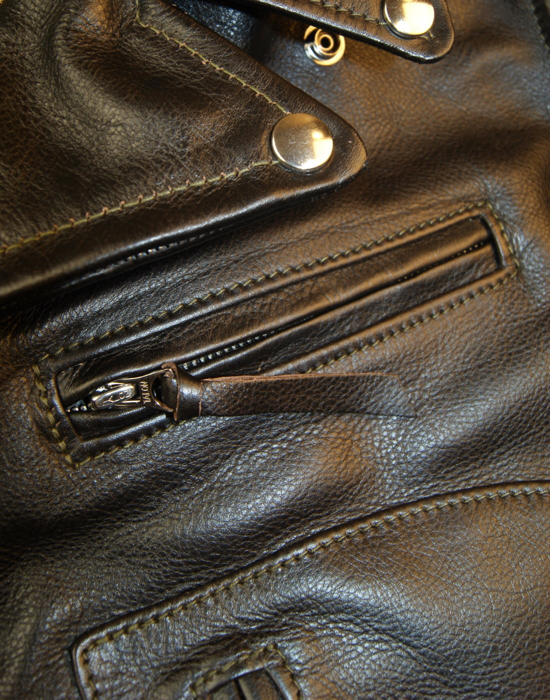 Aero Ridley Blackened Brown Vicenza Horsehide YC6 chest pocket.jpg