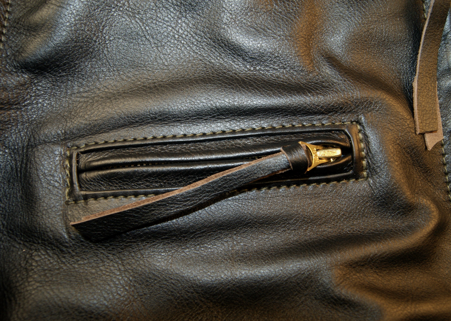 Aero Seven Blackened Brown Vicenza Horsehide XKE chest pocket.jpg