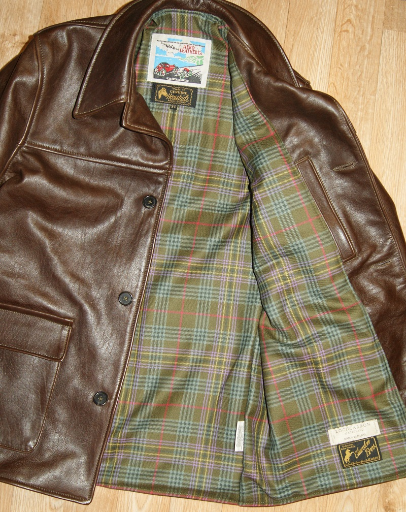 Aero Stockman Seal Vicenza Horsehide size 34 Kennedy Weathered tartan lining.jpg