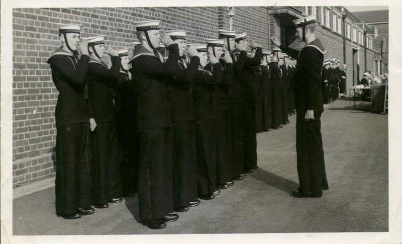 RN ratings in No.1 tiddly suits -- note horiz creased trousers -- 1st in rear same in&out L2R.jpg
