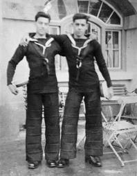 RN -- Seamen in No. 1 dress showing symmeric horiz creases in trousers.jpg