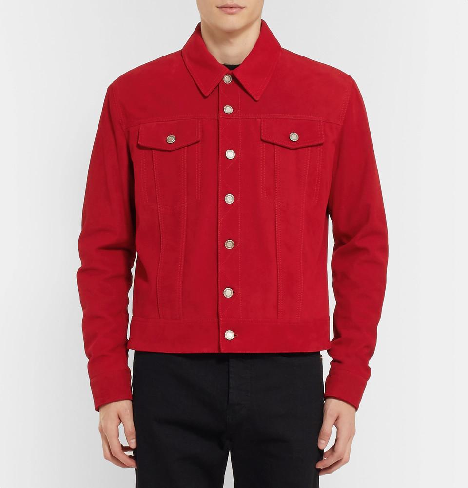 Saint Lauren Red Suede Jacket.jpg