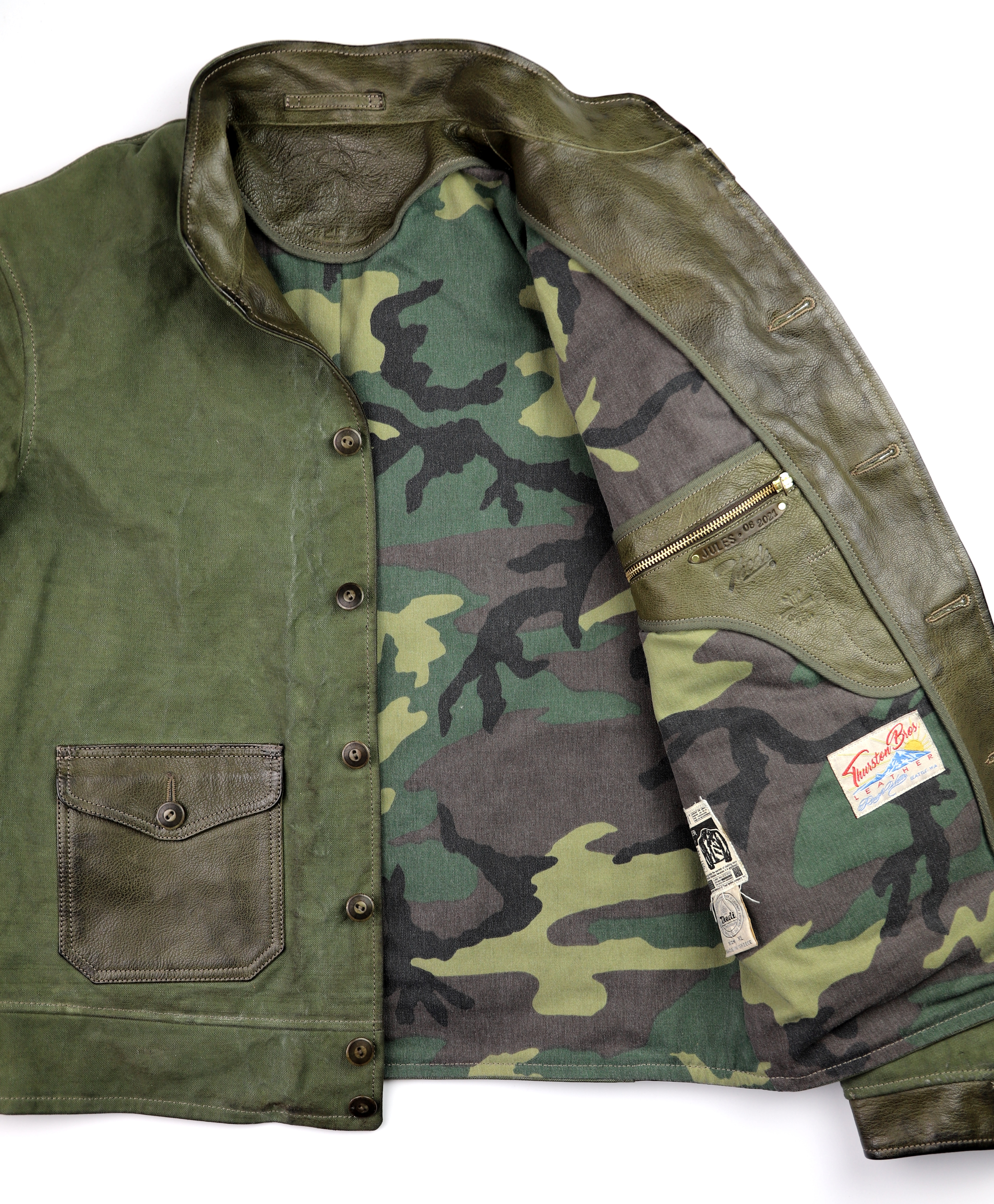Thedi Canvas and Green Goatskin Button-Up camo lining.jpg