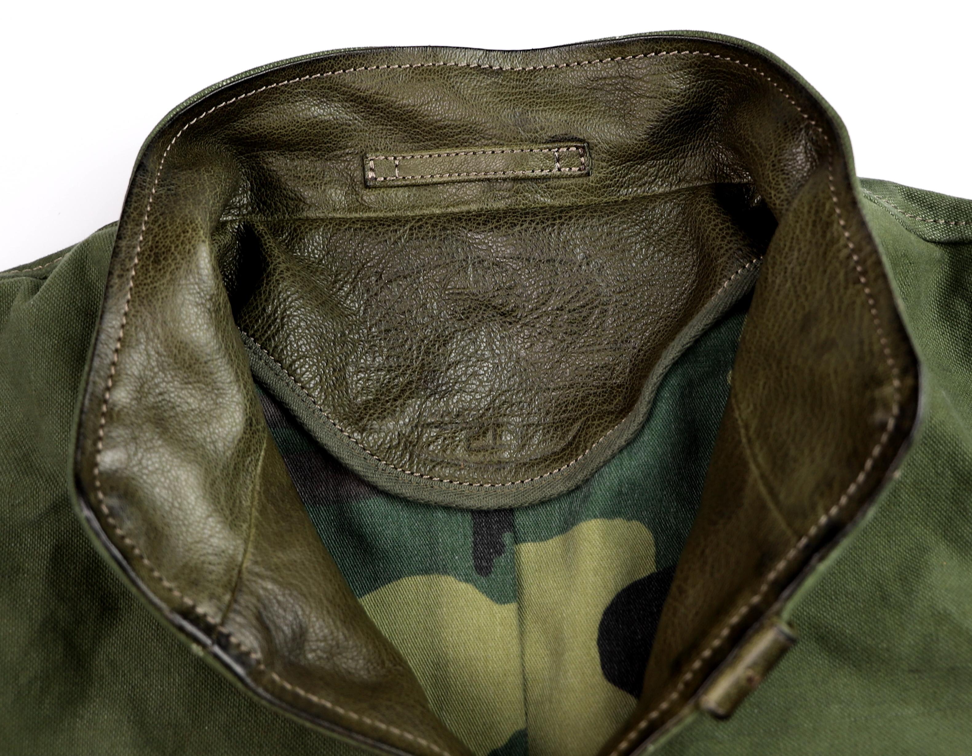 Thedi Canvas and Green Goatskin Button-Up collar.jpg