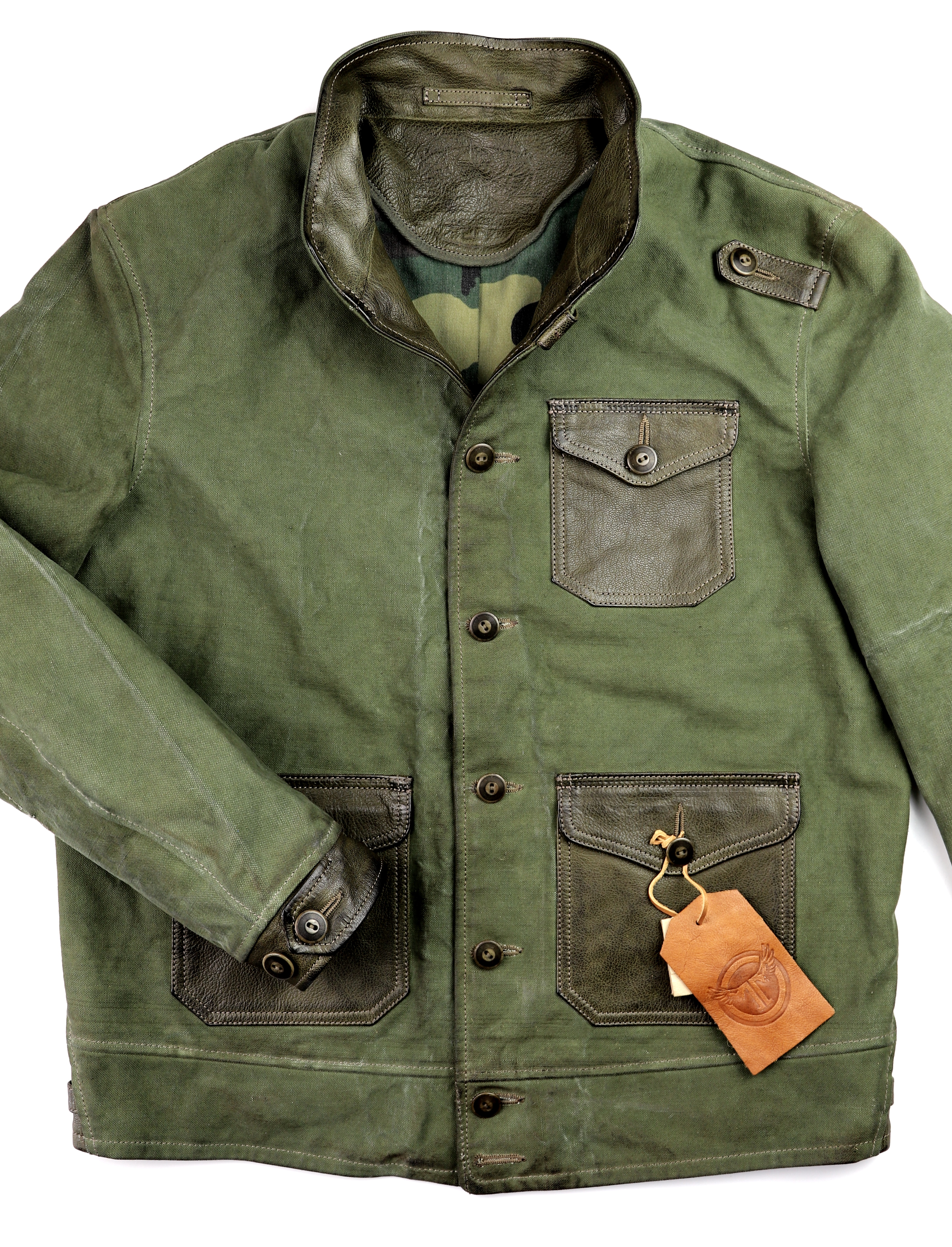 Thedi Canvas and Green Goatskin Button-Up front.jpg