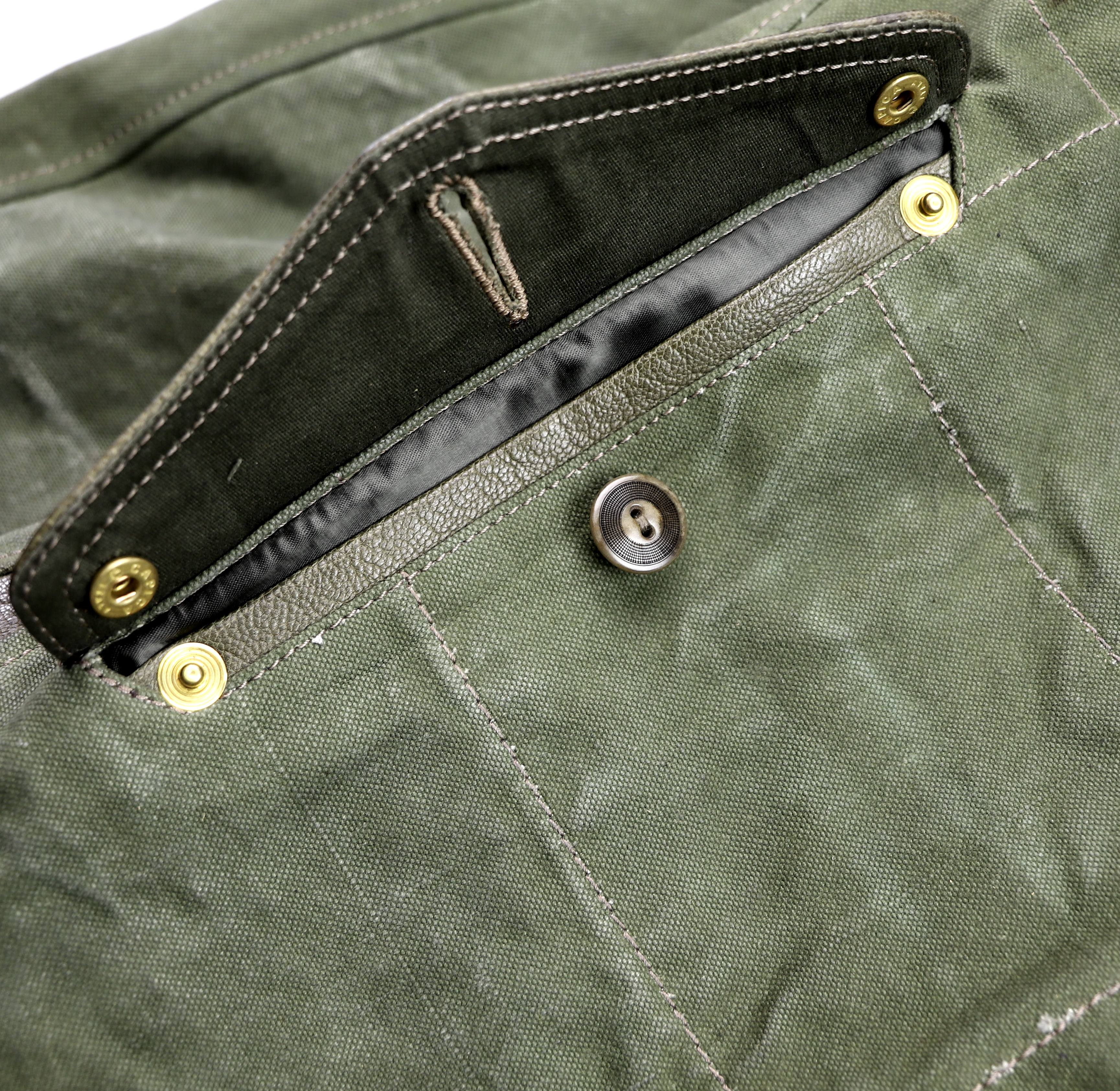 Thedi Canvas and Green Goatskin Button-Up map pocket open.jpg