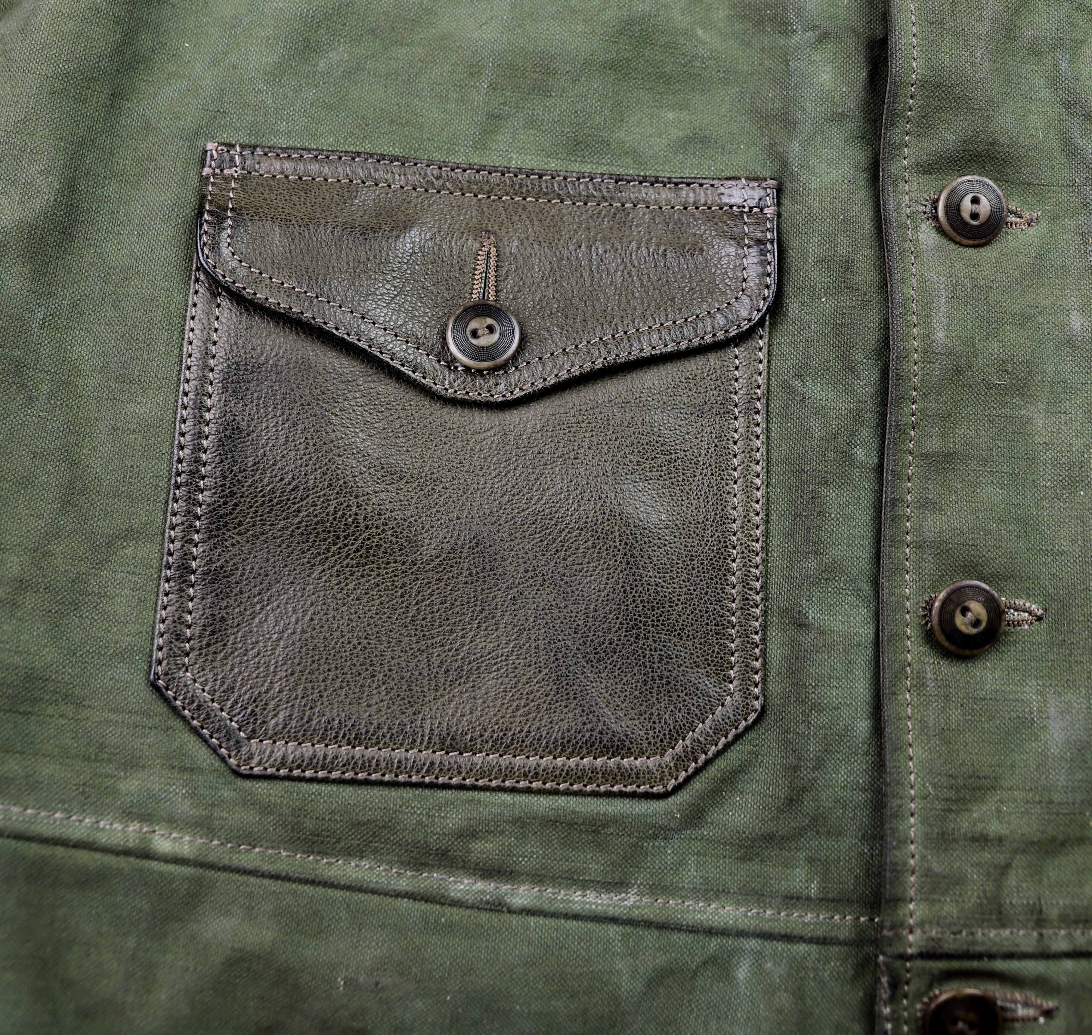 Thedi Canvas and Green Goatskin Button-Up patch pocket 2.jpg