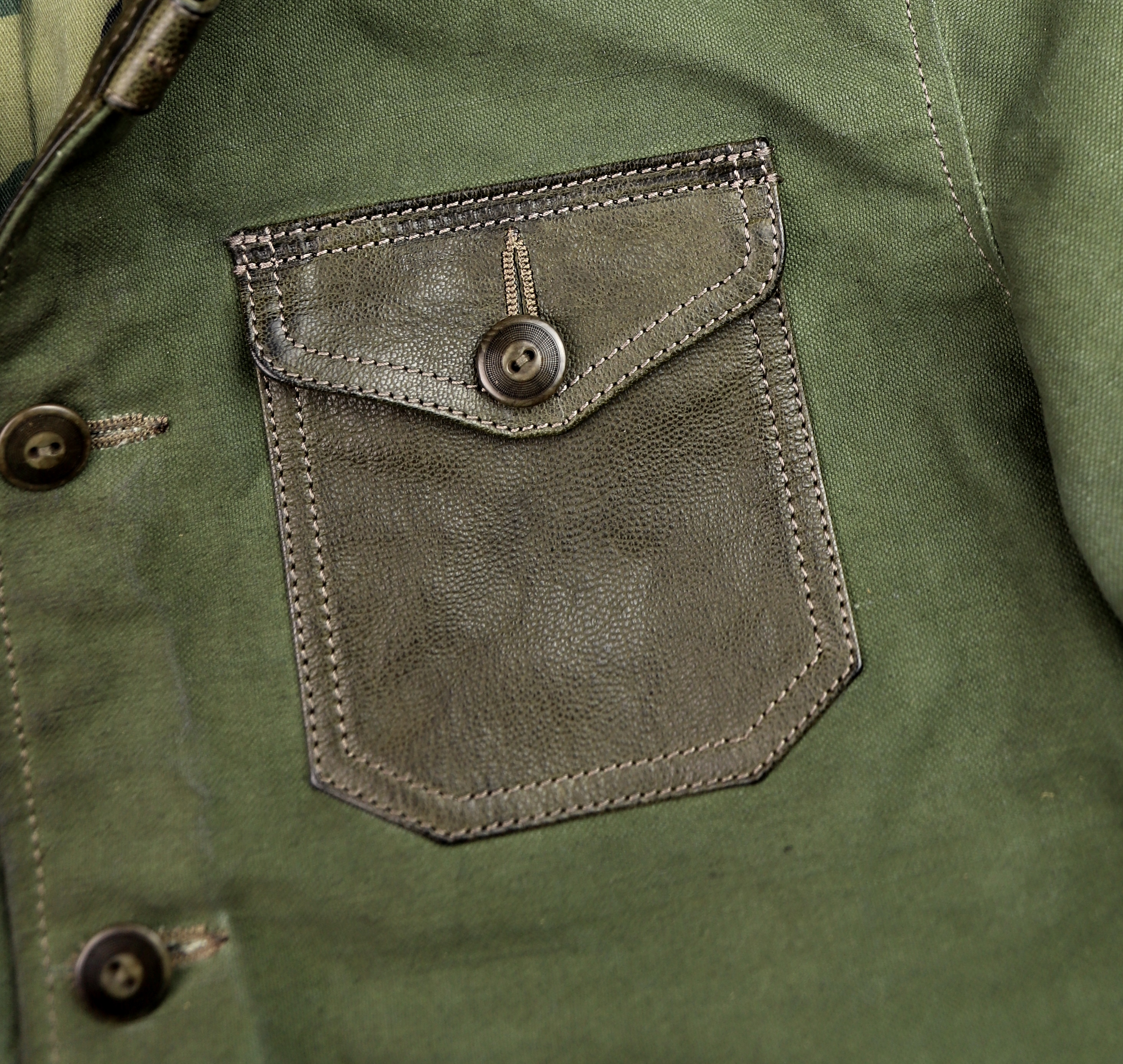 Thedi Canvas and Green Goatskin Button-Up patch pocket.jpg