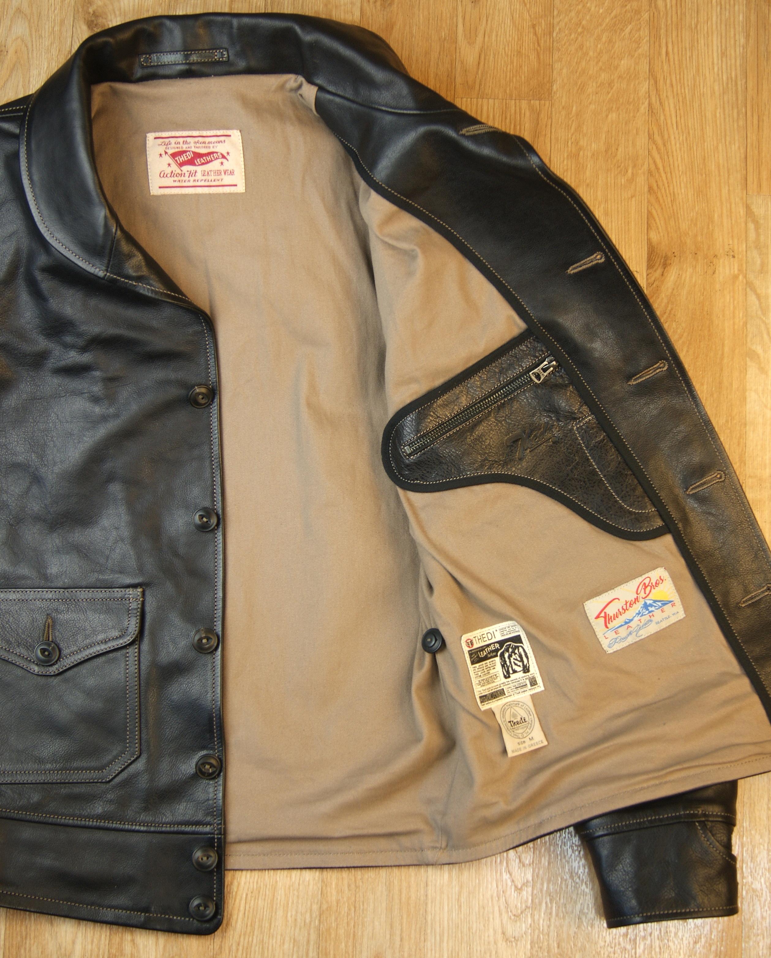 Thedi Shawl Collar Black Buffalo THS10 tan lining.jpg
