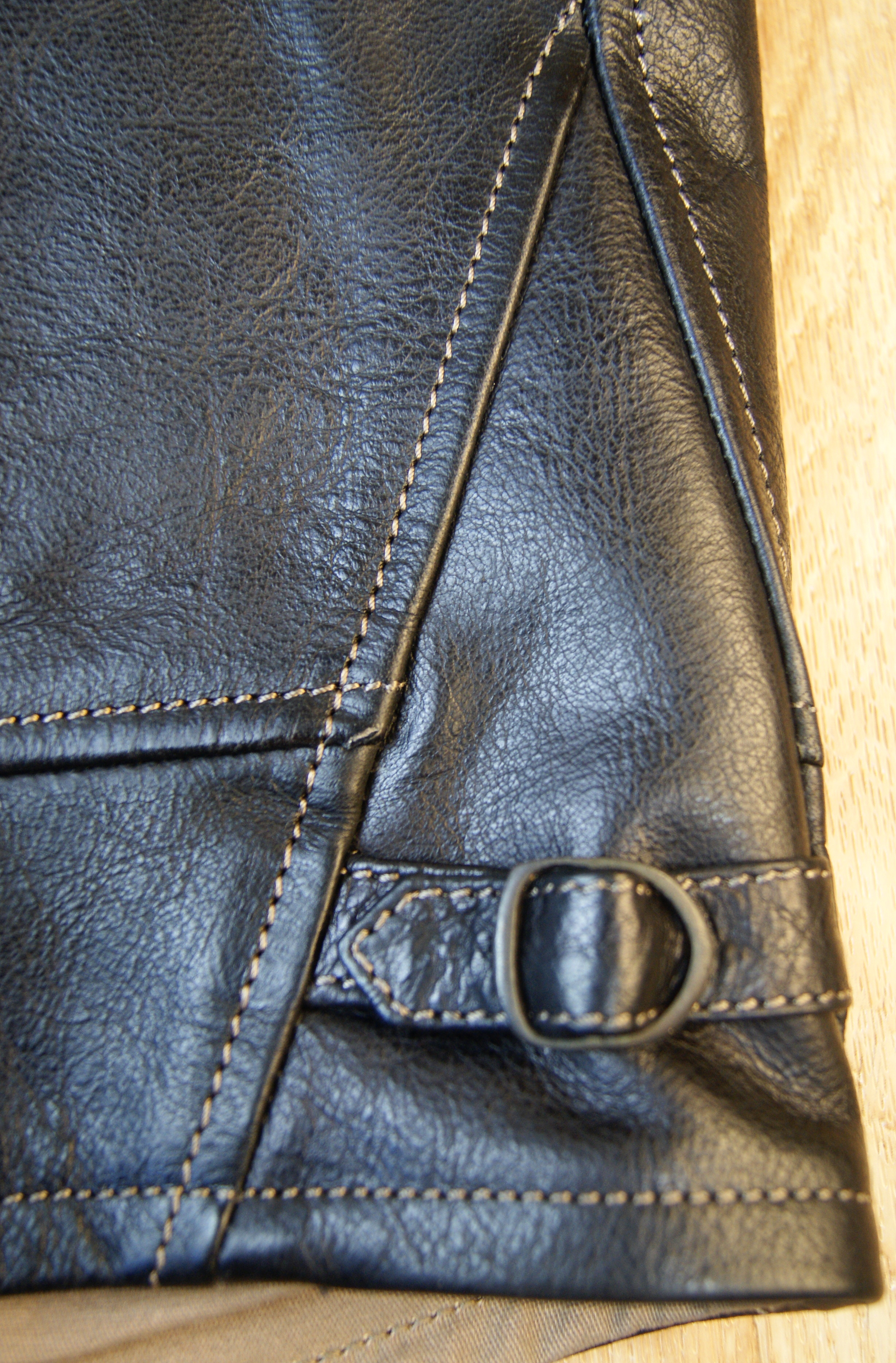 Thedi Shawl Collar Black Buffalo THS9 side strap.jpg