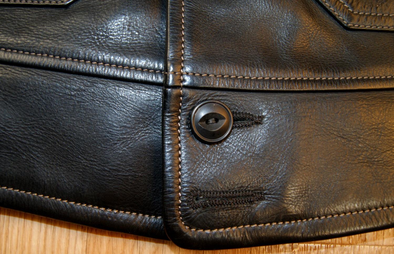 Thedi Shawl Collar Black Cowhide 2XL bottom hem.jpg