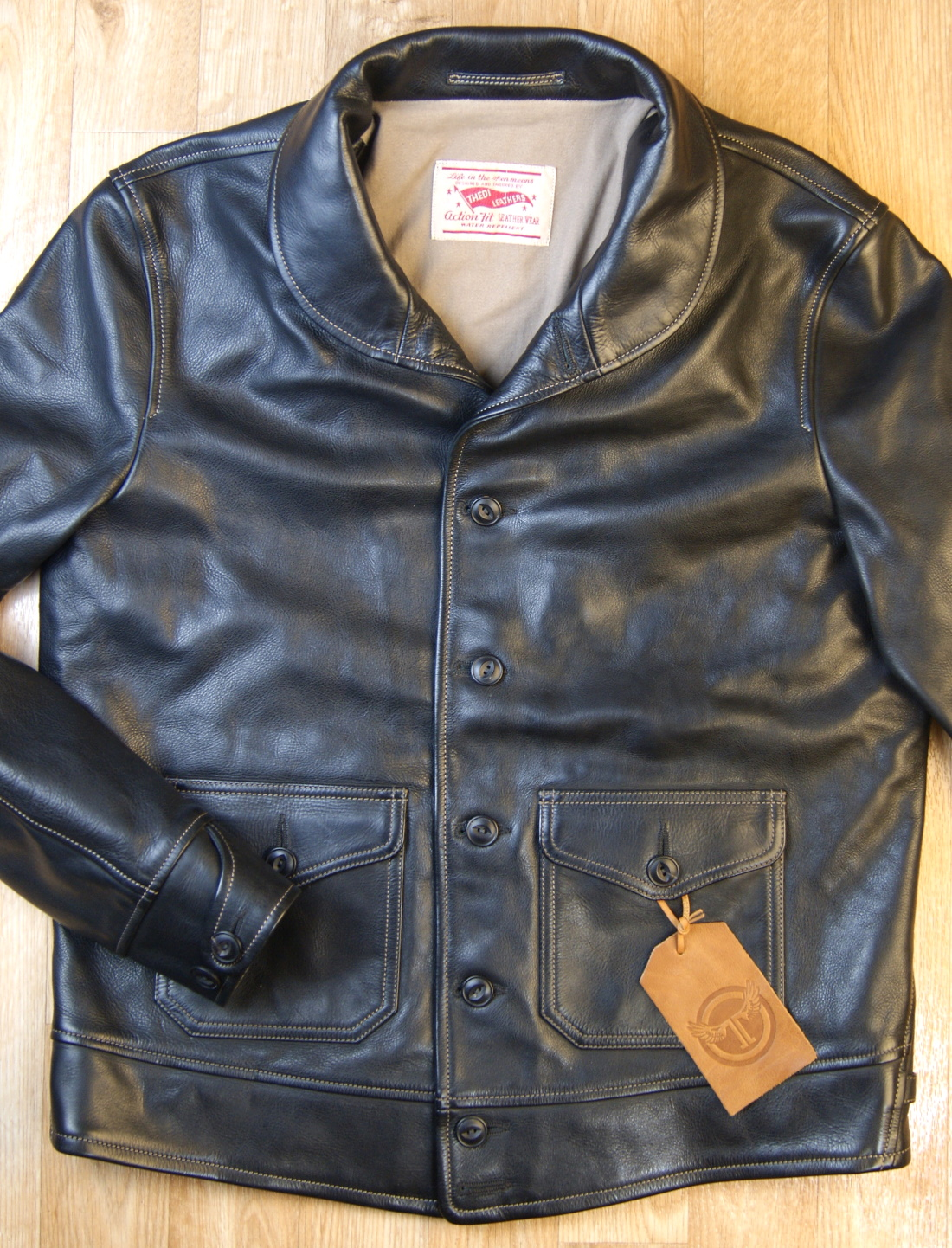 Thedi Shawl Collar Black Cowhide 2XL front.jpg