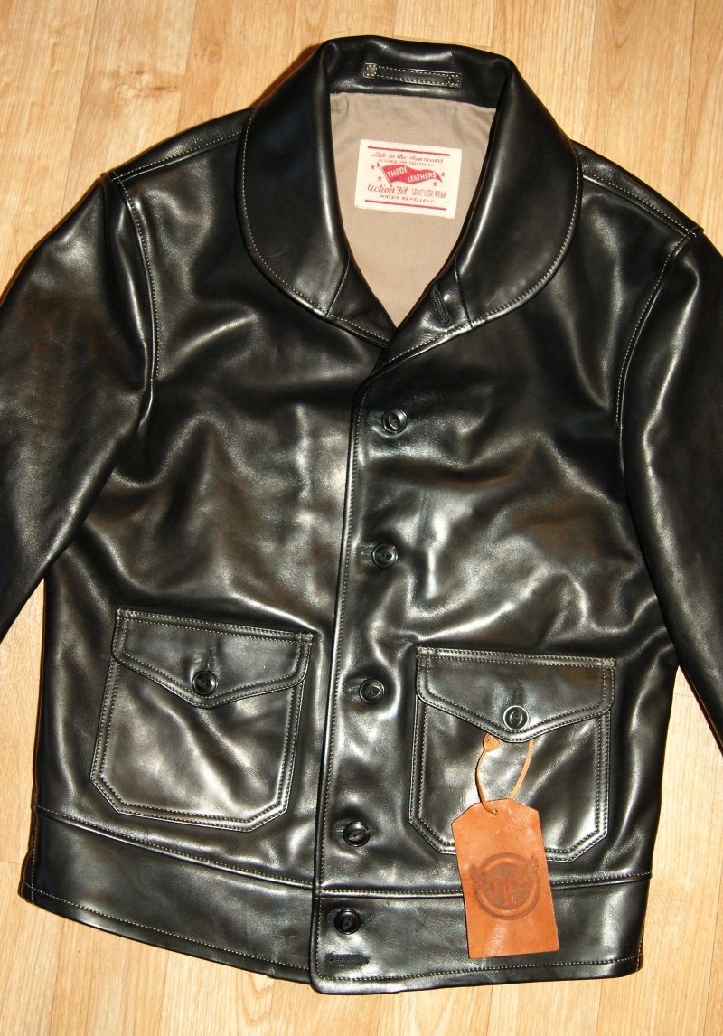 Thedi Shawl Collar Button-Up Jacket Black Cowhide front.jpg