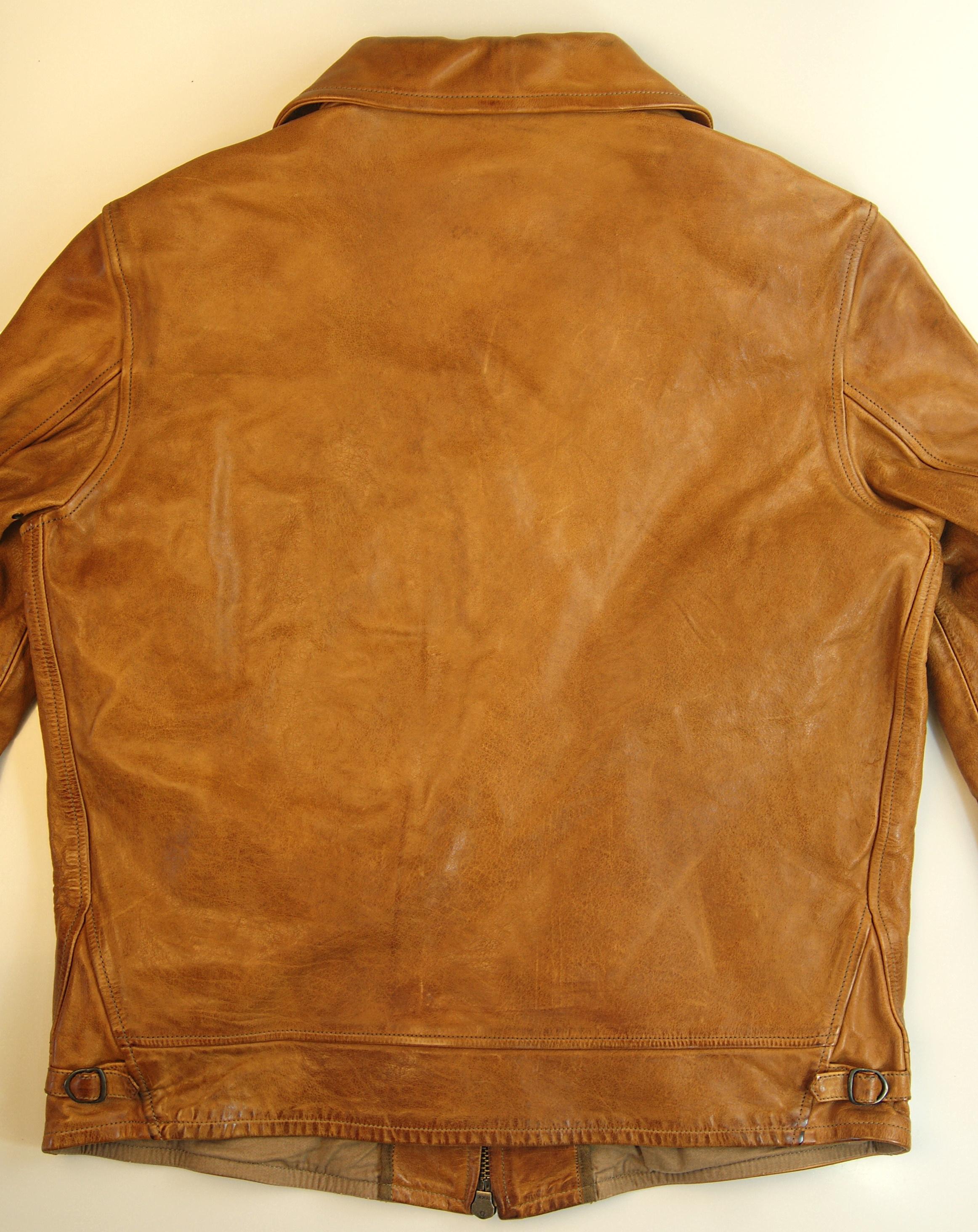 Thedi Zip Up Shawl Collar Washed Cuoio Buffalo CB8 Back.jpg