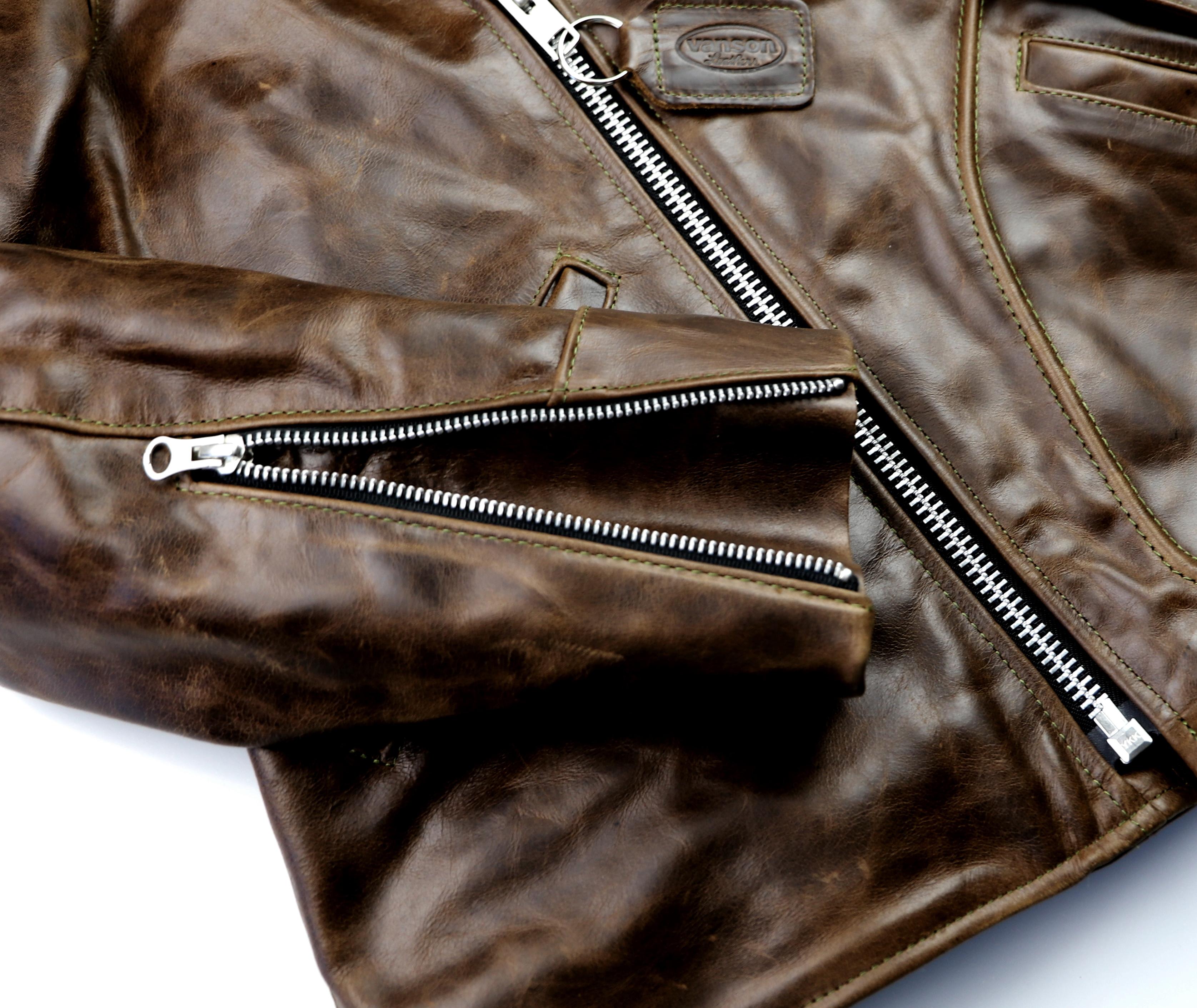 Vanson Gambler Dark Maple Bainbridge 44KJ sleeve zipper.jpg
