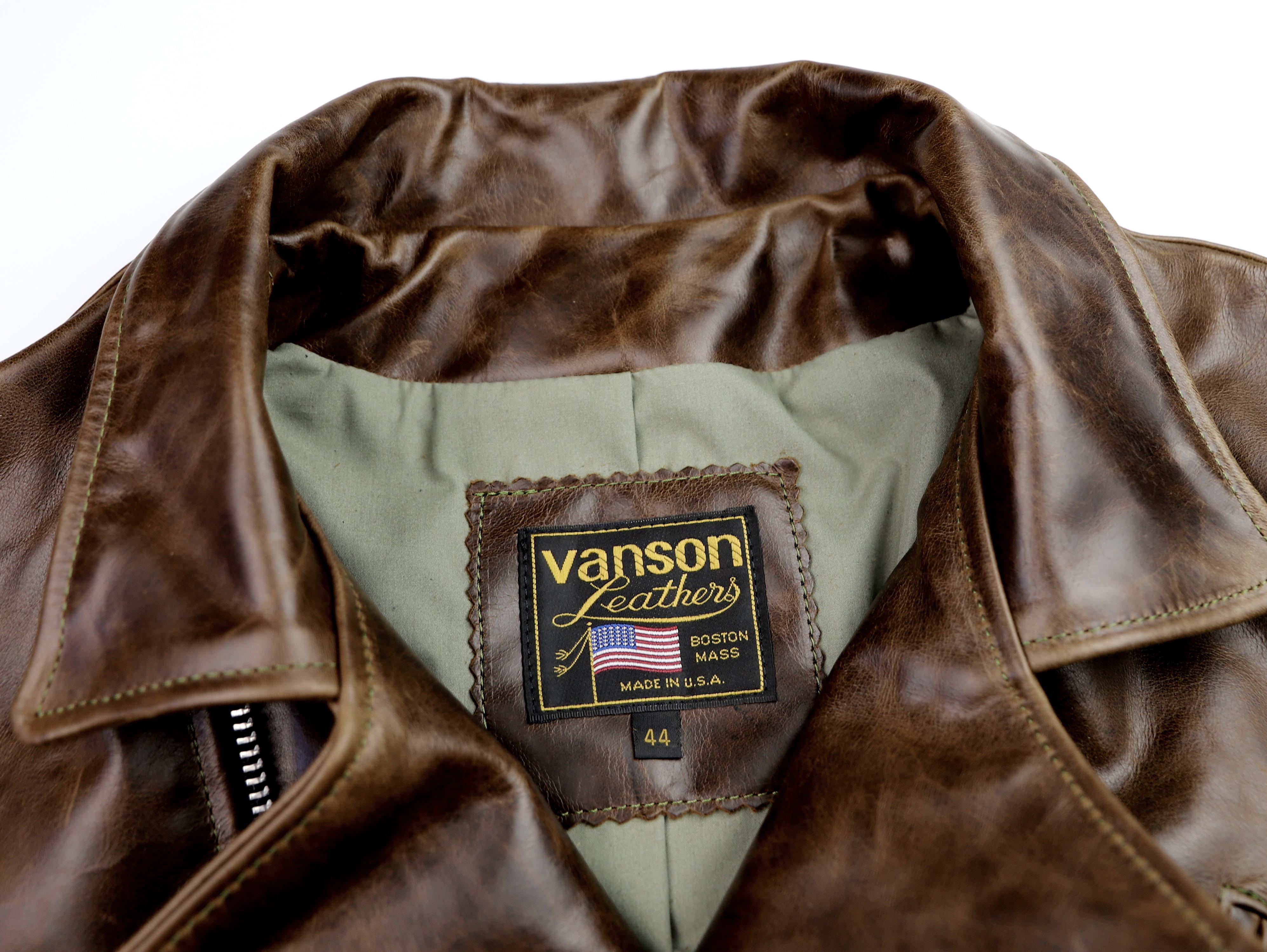 Vanson Gambler Dark Maple Bainbridge 44KJ tag.jpg
