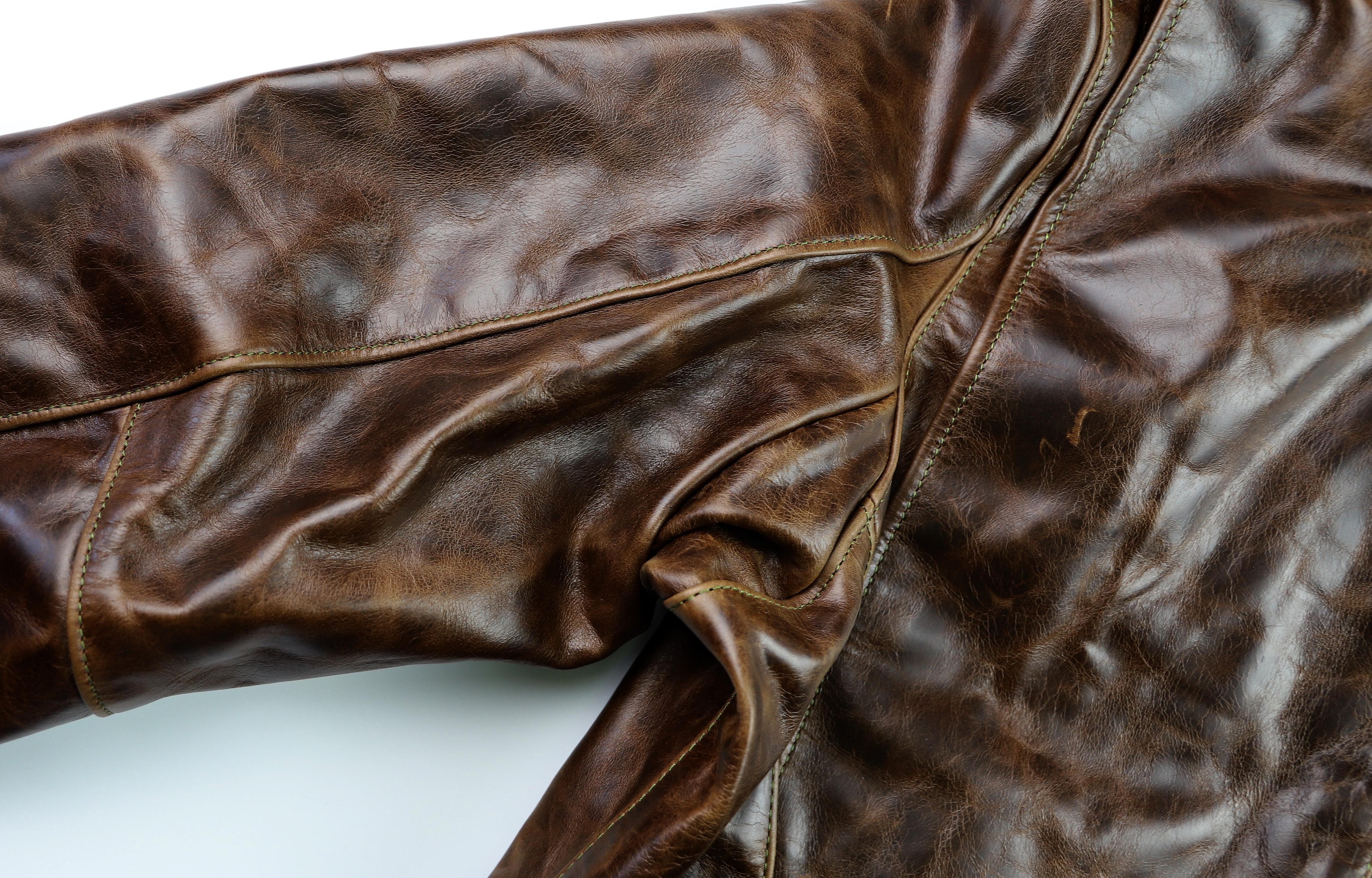 Vanson Oxford Dark Maple Bainbridge NW38 sleeve grain.jpg